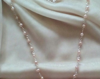 Pearl Necklace,  fresh water pearl necklace,  pink pearl necklace