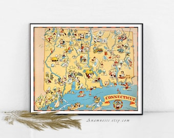 CONNECTICUT MAP - Instant Digital Download - printable picture map for framing, totes, pillows, mugs, cards, tags - fun vintage home decor