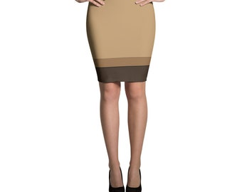 Tan Camel Coffee Pencil Skirt