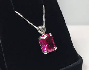 """GORGEOUS 7ct Emerald Cut Pink Sapphire Necklace Sterling Silver Pendant 18"""" Trending Jewelry Gift Mom Fiancé Bride Wife Daughter September"""