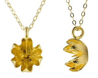Gold Seed Pod Necklace // Delicate Little Pendant Necklace
