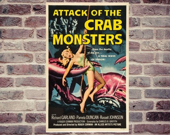 Attack of the Crab monster vintage horror movie poster. vintage movie poster. Vintage horror movie poster.