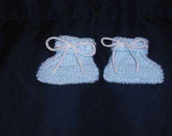 Knitted Baby Booties in Blue with White Yarn Ribbon