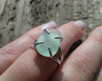 Sea Glass Ring// Size 7// Sea Foam SeaGlass// Beach Glass Ring// Beach Jewelry// Sea Foam Ring// Sterling Silver
