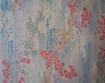 Beige Brown Japanese Silk Kimono Fabric, Maple Momiji Asian Textile, Craft Supply