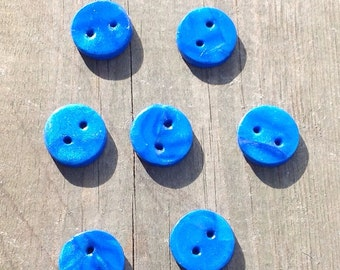Blue Sparkle - hand-made polymer clay buttons