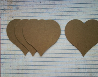 """4 Chubby heart with pointy bottom chipboard die cuts 3"""" x 3"""""""
