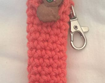 Kitten Lip Balm Holder - Ginger Cat Chapstick Case - Lip Balm Cozy Keyring - Gifts for Her - Stocking Stuffers