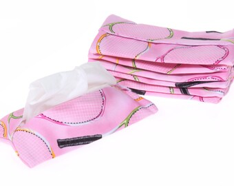 tennis tissue cover pink, tennis gift, tissue holder, tissue pouch, kleenex case, tissue envelope, girlfriend gift, gift for her