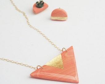 Peach and Gold Marble Necklace and Studs Jewelry set, Minimalist Jewelry Gift, Coral Triangle Necklace, Matched Jewelry Gift Set