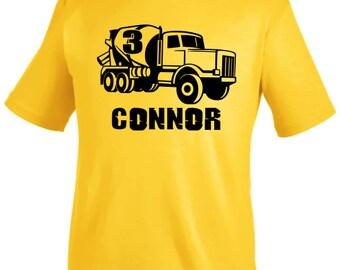 Construction birthday shirt, cement mixer shirt, personalized truck shirt, construction birthday party,