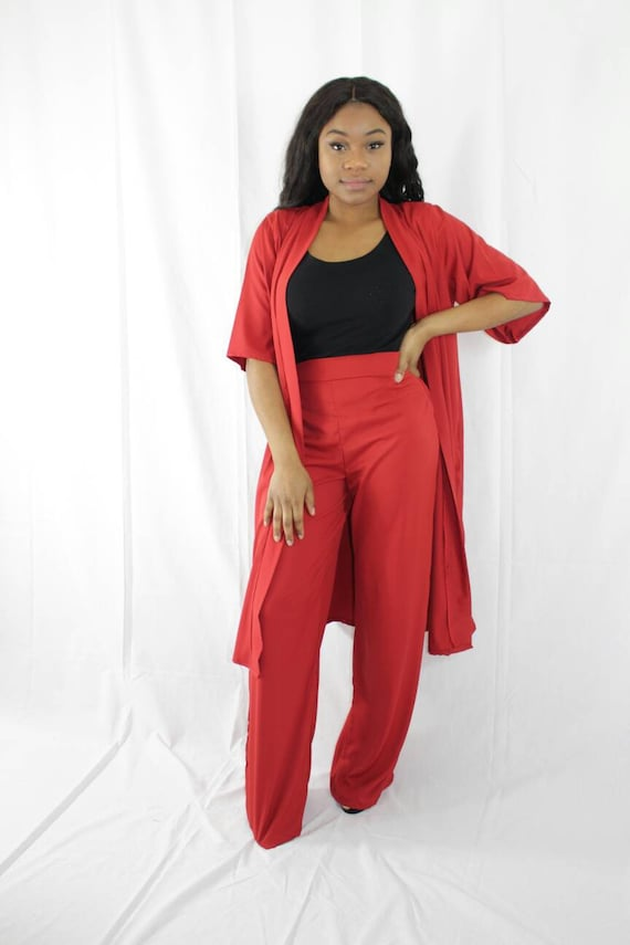 Rhema Coral Red Plain Women's Kimono Trouser Pant Suit