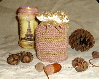 Hand made crochet cotton taupe pink sparkly gold purse
