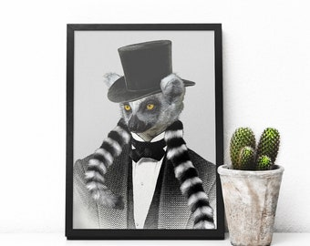 Lemur art collage print. Clip art collage print. Animals print. Creature print