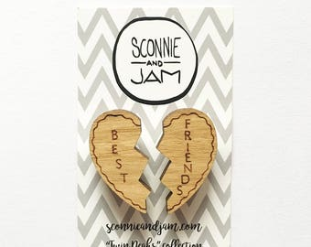 Wood laser cut brooch - best friends split heart double brooch