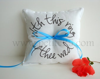 With this ring bearer WHITE pillow- custom ribbon color, simple, rustic, wedding modern