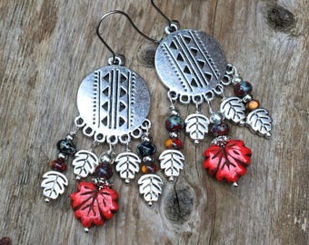 Round Geometric Chandeliers , Red Black Chandelier Earrings , Boho Earrings , Gypsy Earrings , Belly dance earrings , Festive Earrings .