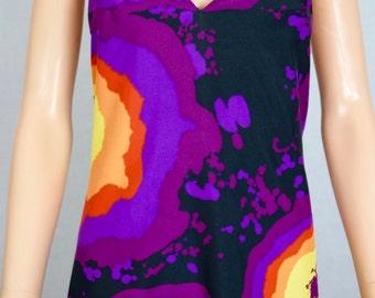 Vintage 1970's Women's Piz Buin PsYcHeDeLiC Rainbow Op Art COUTURE DiScO HiPPiE Maxi Dress Size S M