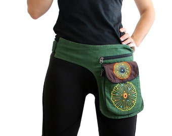 Cotton  Pocket Belt, hip pack, waist pack, fanny pack, festival clothing, cotton utility belt