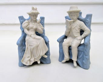 Vintage Porcelain Figurine   Wedgewood Collectibles   Wedgewood Blue Couple Figures   Victorian Bisque Figures
