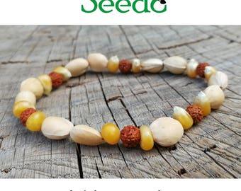 Natural seeds bracelet-Rudraksha, maize, cherry