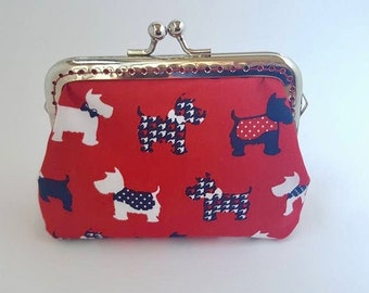 Coin purse, scotty dogs, westie, red