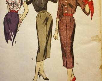 Advance 8476 Vintage Sewing Pattern, Button Front Shirt and Skirt, 1950s, Elizabeth Hilt