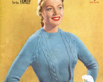 New Knitting No. 26 - 11 Designs for the Family Early 1950s Classic Patterns Booklet Instant Download