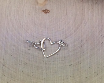 Heart Charm, Heart Pendant, Open Heart Link, Big and Little Heart Link. Mother and Child Charm, Sterling Silver Charm, PS01123