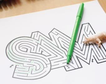 SAM Name Maze / Instant DOWNLOAD Printable PDF / Personalized Activity for All Ages / Hand-drawn
