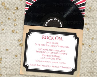 Rock and Roll Vinyl Record Birthday Invitation with Black and Pink Record Sleeve Case Custom Invites with Professional Printing Option