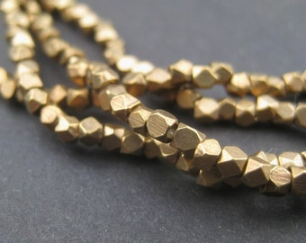240 Faceted Brass Beads - 2mm Tiny Diamond Cut Beads - Brass Spacer Beads - Metal Spacers - Jewelry Making Supplies (FCT-USU-BRS-138L)