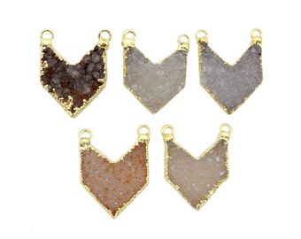 Petite Druzy Chevron Double Bail Pendant with Electroplated 24k Gold Edge (S21B6-11)