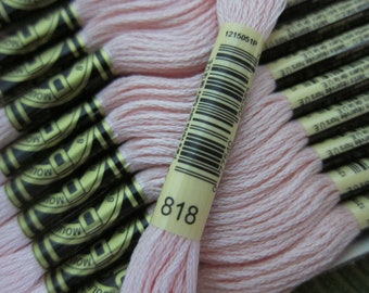 Baby Pink #818, DMC Cotton Embroidery Floss - 8m Skeins - Available in Single Skeins, Larger Pkgs & Full (12 skein) Boxes