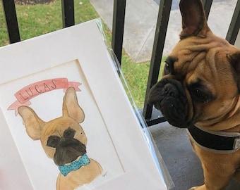 Pet Portrait, Watercolor Pet Illustration, Dog Portrait, dog Illustration, Pet Gifts, Fur Mom Gifts, Pet Drawing