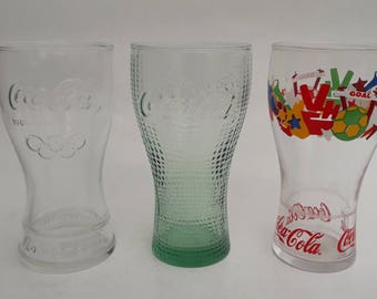 Lot Of 3 Coca Cola Glasses Fifa 2010 McDonalds Green Glass Olympics 2012 Coca Cola Glass Advertising 3 Collectable Glasses