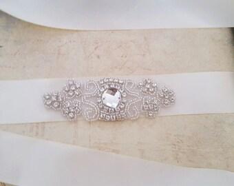 Rhinestone Bridal Belt, Ivory Bridal Belt, Bridal Sash, Wedding Sash, Satin Bridal Belt