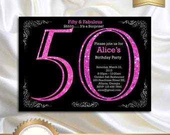 50th Birthday Invitation, Adult Pink Glitter Birthday Invitation, Women Birthday Party, Adult Surprise Birthday, Elegant - Printable DIY