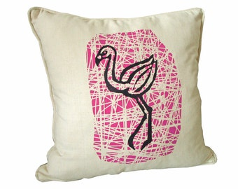 Organic pillow cover, flamingo, 45x45cm