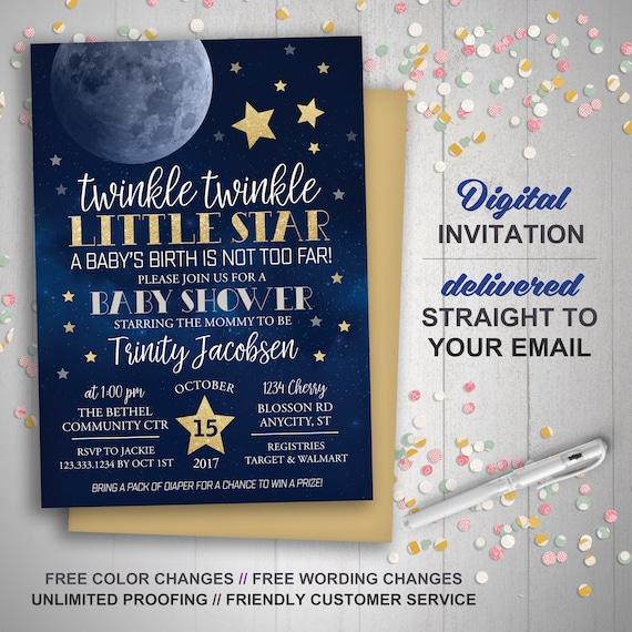 Moon stars baby shower invitation twinkle twinkle little