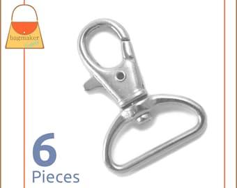 "1 Inch Swivel Snap Hooks, Lobster Claw, Nickel Finish, 6 Pieces, Handbag Purse Bag Making Hardware Supplies, 1"", SNP-AA022"