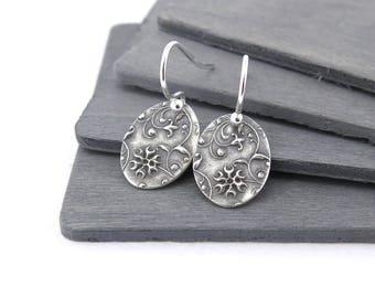 Tiny Silver Earrings Dainty Oval Earrings Bohemian Jewelry Sterling Silver Handmade Jewelry Dainty Jewelry - Tiny Ovals