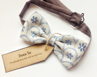 mens bow tie vintage floral - ivory bow tie - vintage bow tie - blue bow tie
