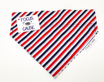 Patriotic Red White and Blue Stripes Dog Bandana, Over the Collar Dog Bandana, July 4th, Patriotic, Pet Scarf by Focus for a Cause