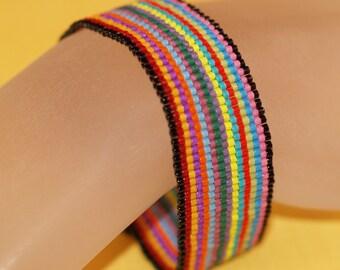 Fiesta Stripe ... Peyote Bracelet . Beadweaving . Colorful . Multicolor . Festive . Rainbow . Simple . Chic . Opaque Beads
