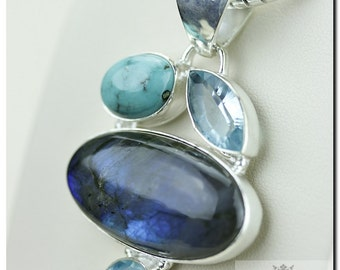 Labradorite Swiss Blue Topaz Turquoise 925 SOLID Sterling Silver Pendant + 4mm Snake Chain & FREE Worldwide Shipping p1357