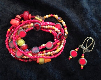 Fiery Red Bracelet & Earring Set