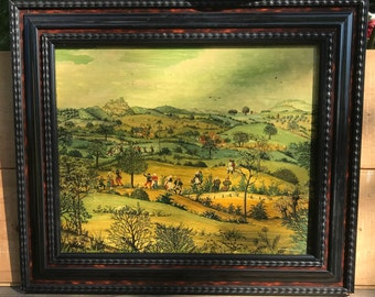 Oil painting on wood panel, la,es pas with dancing farmers