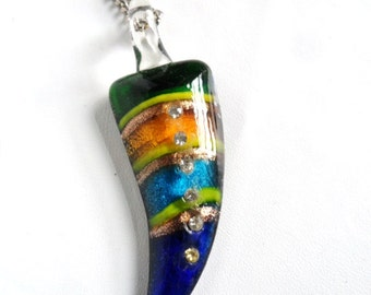 """Vintage Dichroic Fused Glass Rhinestone Horn 3"""" Pendant on 26"""" Necklace"""