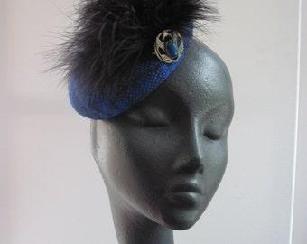 Cocktail Hat  Women Blue Tartan